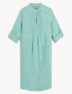 Pure Linen Pintuck Knee Length Shift Dress