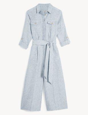 Pure Linen Striped Jumpsuit