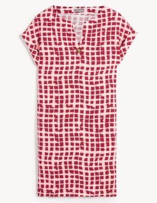 Pure Linen Gingham V-Neck Shift Dress