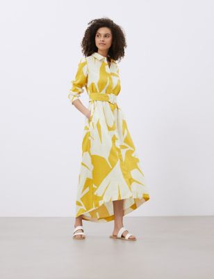 Pure Linen Printed Belted Midi Shirt Dress
