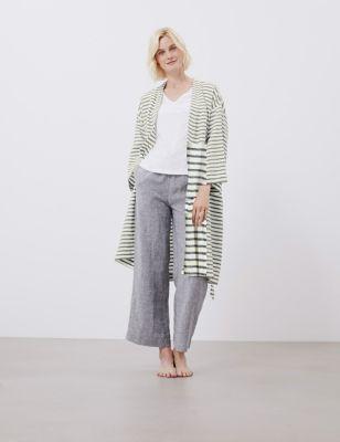 Pure Linen Striped Robe