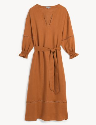 Pure Linen Broderie Belted Midi Smock Dress