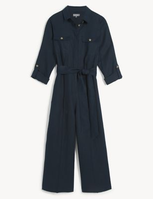 Pure Linen Belted 3/4 Sleeve Jumpsuit
