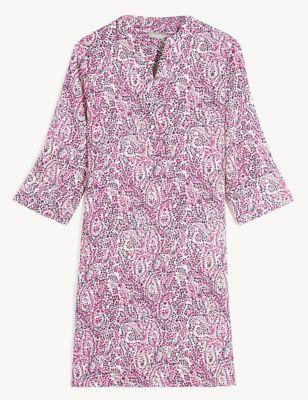 Pure Linen Paisley V-Neck Shift Dress