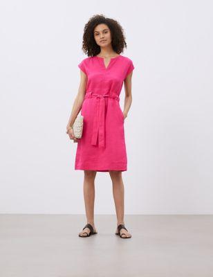 Pure Linen Tie Front Shift Dress