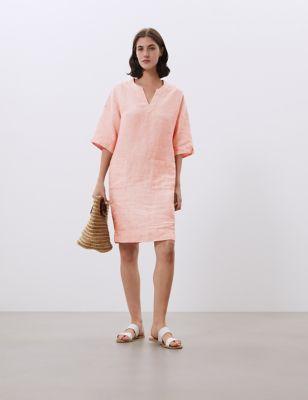 Pure Linen V-Neck Knee Length Shift Dress