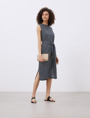 Pure Linen Polka Dot Midi Shift Dress
