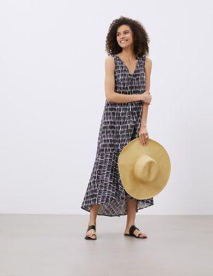 Pure Linen Printed V-Neck Maxi Smock Dress
