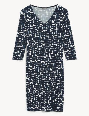 Jersey Printed V-Neck Shift Dress