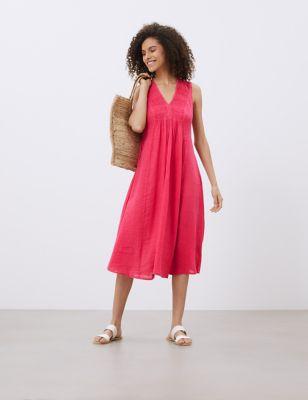 Pure Linen V-Neck Midi Smock Dress
