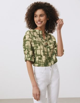 Pure Linen Printed Notch Neck T-Shirt