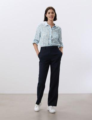 Pure Linen Printed 3/4 Sleeve Shirt