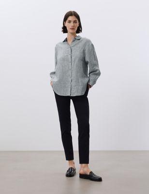 Pure Linen Striped 3/4 Sleeve Shirt