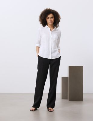 Pure Linen Collared 3/4 Sleeve Shirt