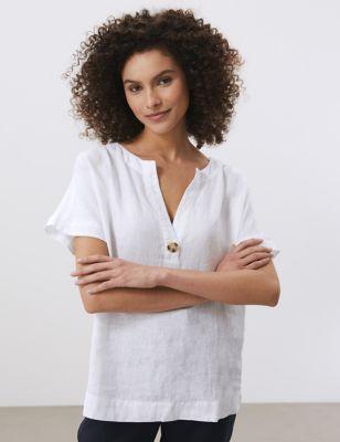 Pure Linen Notch Neck T-Shirt