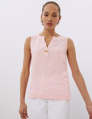 Pure Linen Notch Neck Sleeveless Vest Top