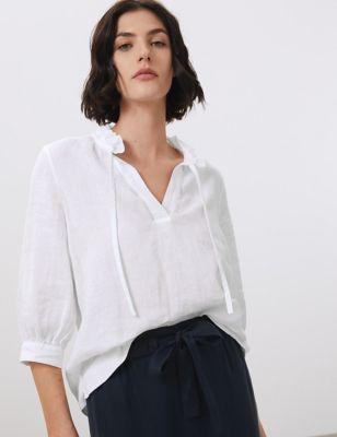 Pure Linen Tie Neck Blouson Sleeve Blouse