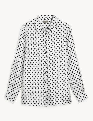 Pure Silk Polka Dot Long Sleeve Shirt