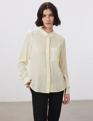 Pure Silk Collared Long Sleeve Shirt