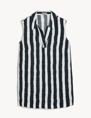 Pure Linen Striped Collared Tunic