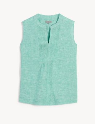 Pure Linen V-Neck Pintuck Sleeveless Blouse