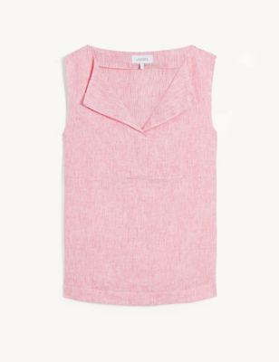 Pure Linen Striped V-Neck Sleeveless Top