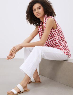 Pure Linen Gingham Sleeveless Tunic