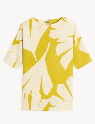 Pure Linen Printed Short Sleeve Top