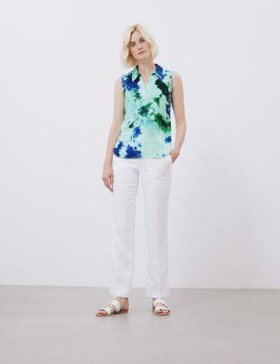 Pure Linen Tie Dye V-Neck Sleeveless Tunic