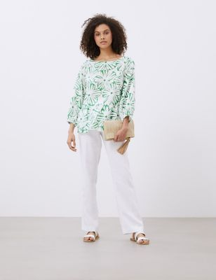 Pure Linen Floral 3/4 Sleeve Blouse