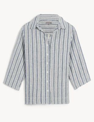 Pure Linen Striped Lounge Shirt