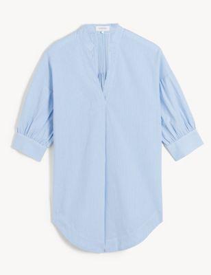 Pure Cotton Striped Puff Sleeve Shirt