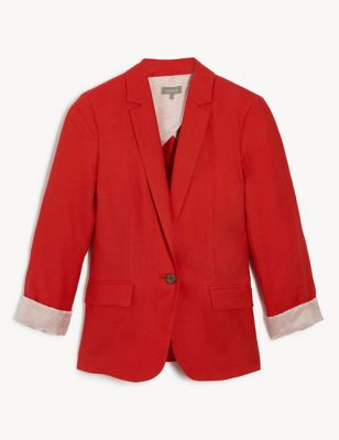 Pure Linen Relaxed Single Breasted Blazer