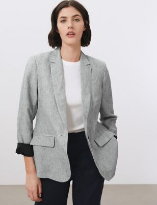 Pure Linen Relaxed Striped Blazer