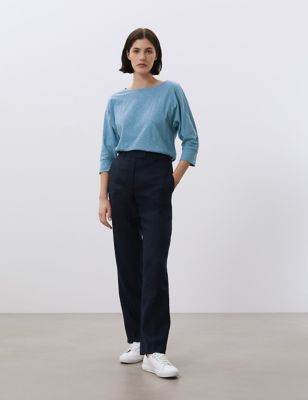 Jersey Round Neck Batwing 3/4 Sleeve Top