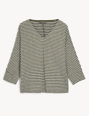 Pure Cotton Striped Batwing 3/4 Sleeve Top