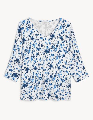 Printed V-Neck Batwing 3/4 Sleeve Top