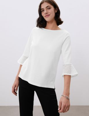 Broderie Round Neck 3/4 Sleeve Blouse