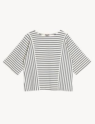 Jersey Striped Round Neck 3/4 Sleeve Top