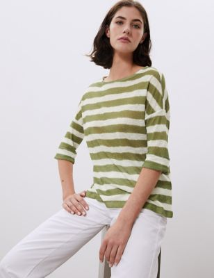 Pure Linen Striped 3/4 Sleeve Top