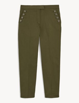 Cotton Pocket Detail Tapered Chinos