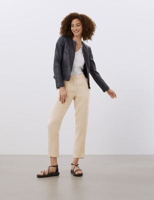 Pure Linen Tapered 7/8 Trousers
