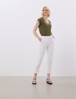 Pure Linen Tapered Ankle Grazer Trousers