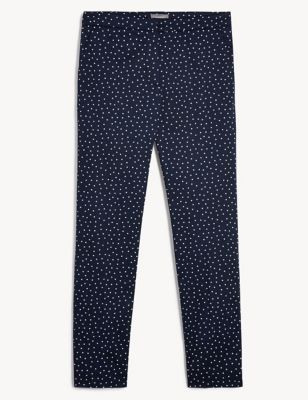 Cotton Polka Dot Tapered Trousers