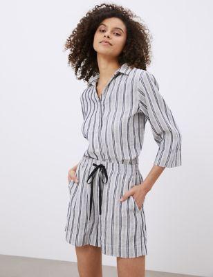 Pure Linen Striped Lounge Shorts