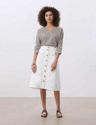 High Waisted Button-Through Denim A-Line Skirt