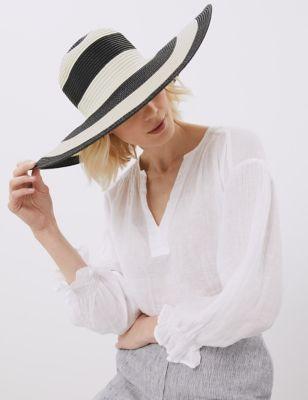 Straw Striped Wide Brim Hat