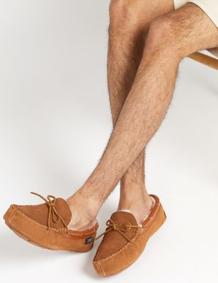 Suede Moccasin Slippers