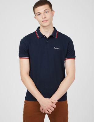 Pure Cotton Pique Tipped Polo Shirt