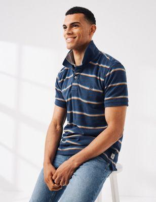 Cotton Pique Striped Polo Shirt